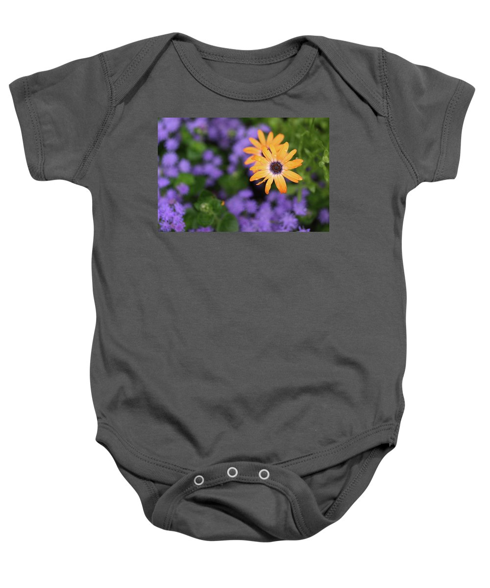 Flowers Baby Onesie featuring the photograph Yellow And Purple by Rick Berk