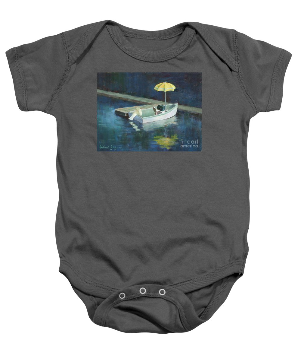 Outdoors Baby Onesie featuring the painting Yellow Umbrella by Claire Gagnon