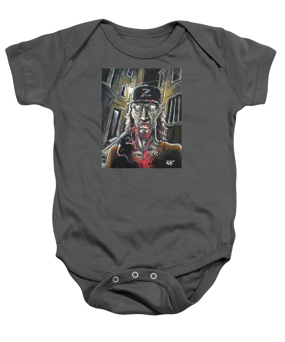Zombie Tom Baby Onesie featuring the painting Zombie Tom by Tom Carlton