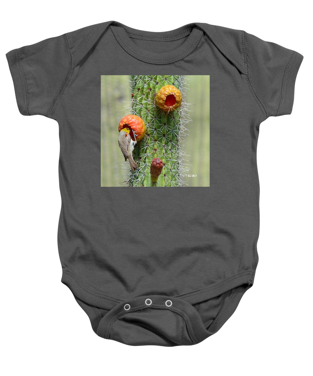 Verdin Baby Onesie featuring the photograph # 1 Of 2  Verdin--watermarked by Michael Searcy
