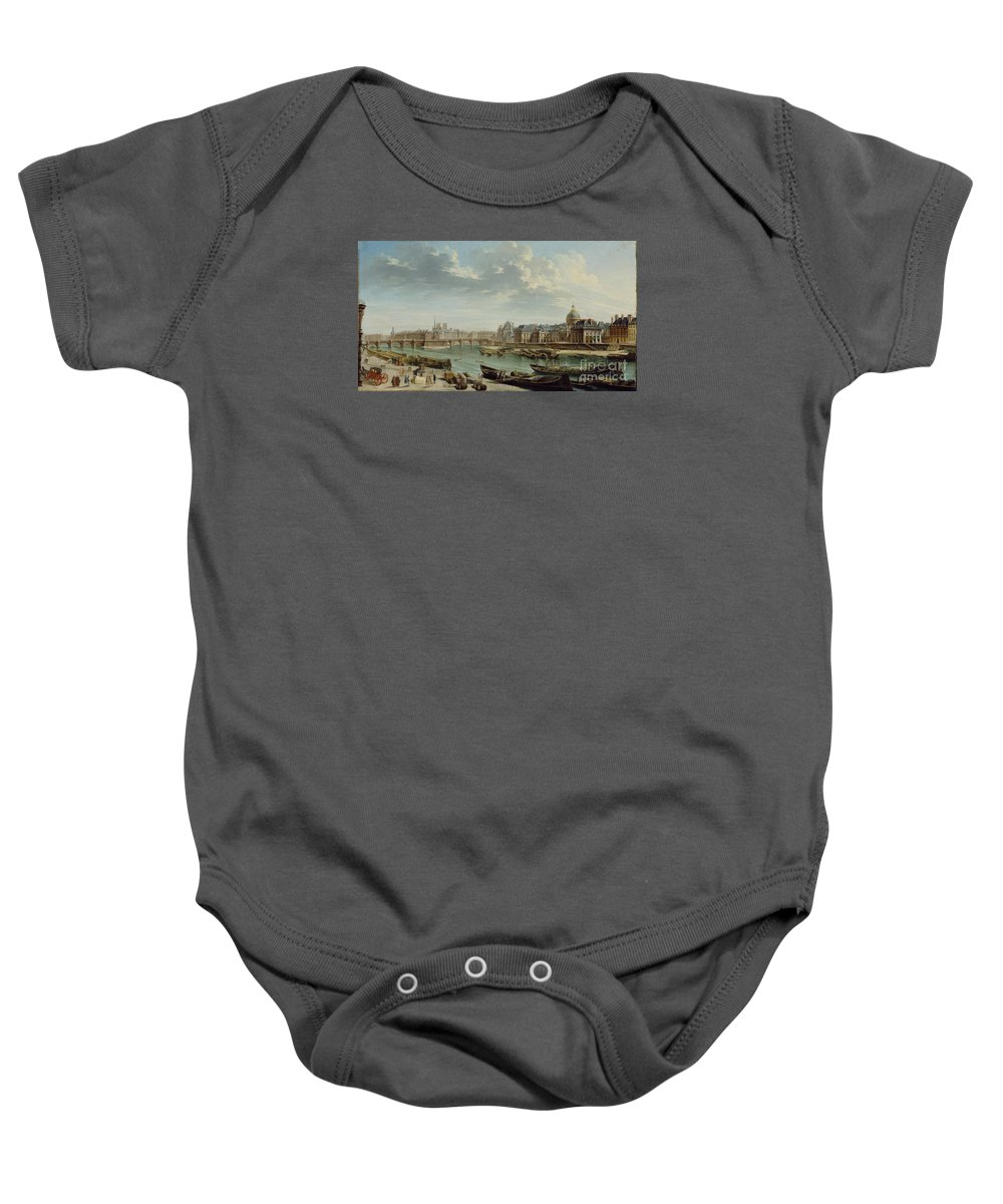Jean-baptiste Raguenet (french Baby Onesie featuring the painting A View Of Paris by Celestial Images