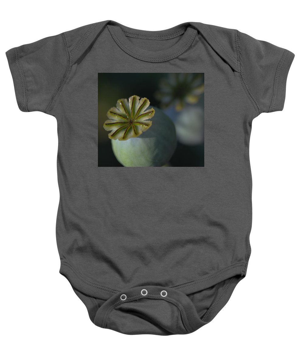 Poppy Baby Onesie featuring the photograph After The Flower 2 by Mo Barton
