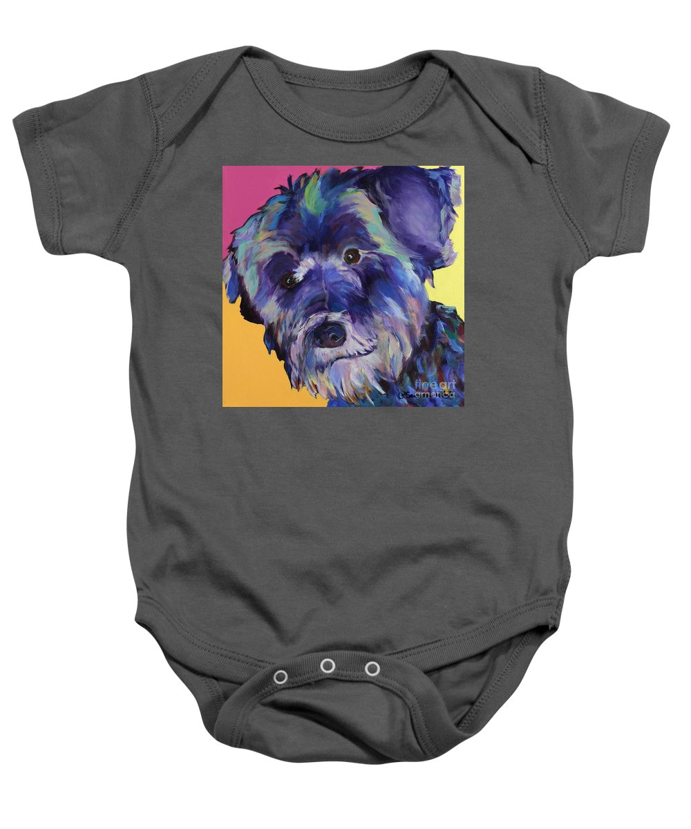 Schnauzer Acrylic Painting Baby Onesie featuring the painting Beau by Pat Saunders-White