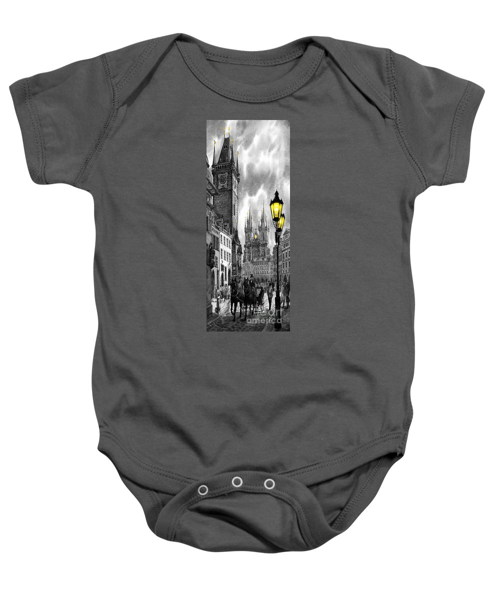 Geelee.watercolour Paper Baby Onesie featuring the painting Bw Prague Old Town Squere by Yuriy Shevchuk