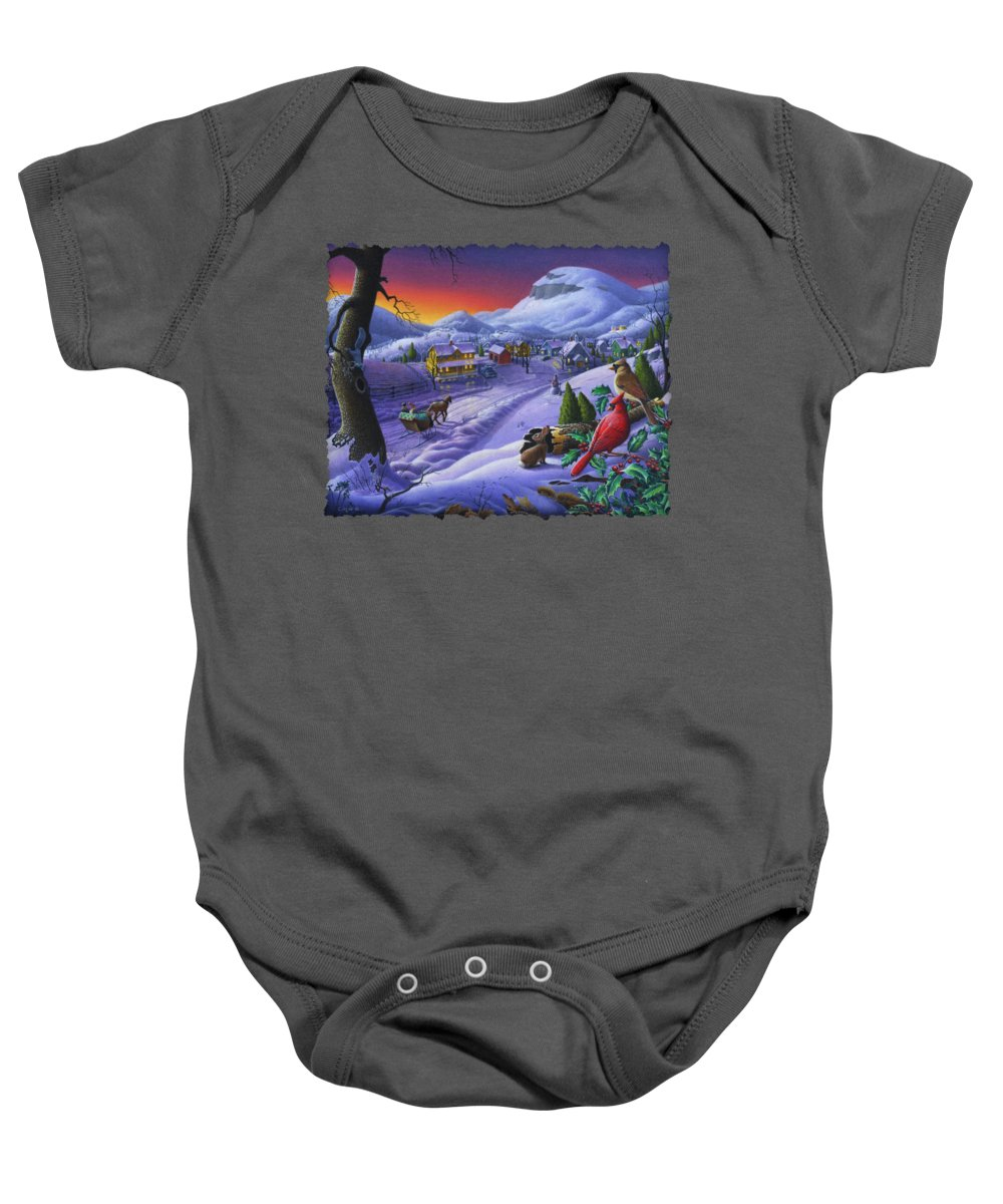 Christmas Baby Onesie featuring the painting Christmas Sleigh Ride Winter Landscape Oil Painting - Cardinals Country Farm - Small Town Folk Art by Walt Curlee