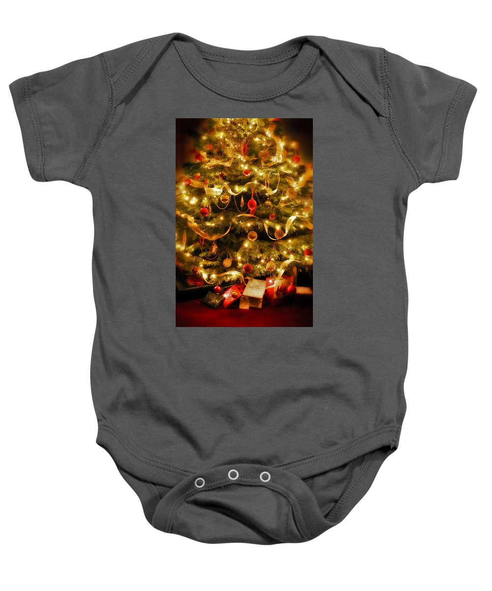 Victorian Christmas Tree Xmas Baubles Gifts Presents Decorations Ribbon Pine Needles Fairy Lights Baby Onesie featuring the photograph Christmas Tree by Mal Bray