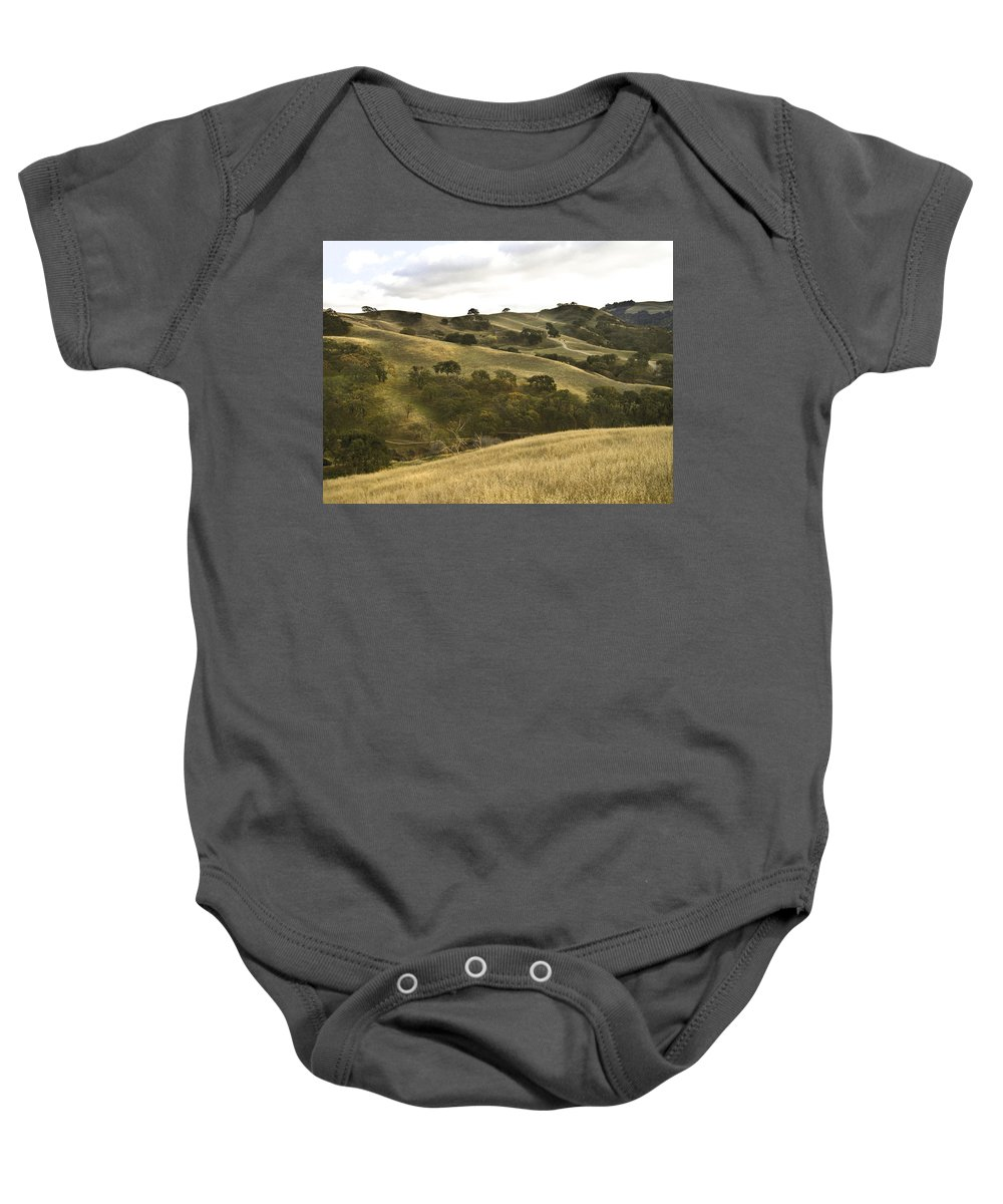Landscape Baby Onesie featuring the photograph First Hill In Fall by Karen W Meyer