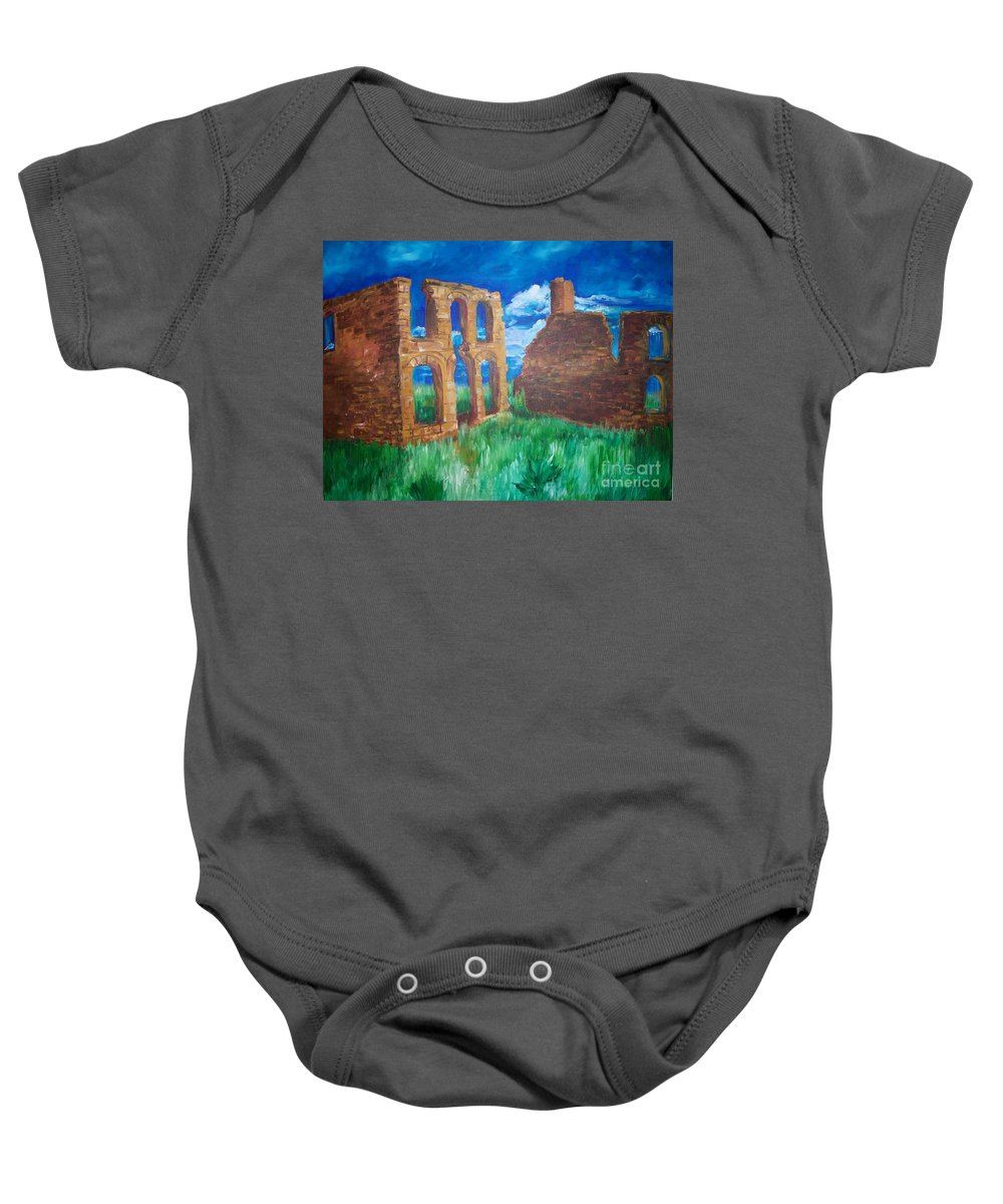 Western_landscapes Baby Onesie featuring the painting Ghost Town by Eric Schiabor