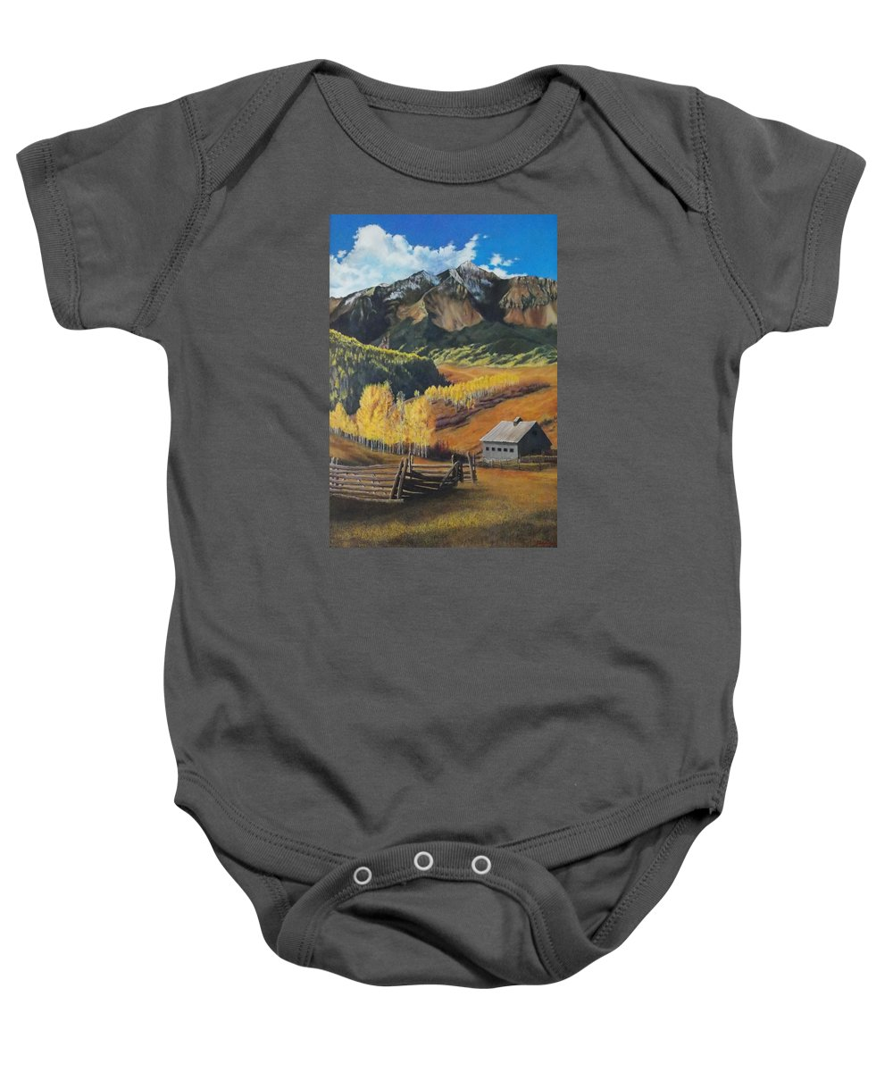 Colorado Rockies Baby Onesie featuring the painting I Will Lift Up My Eyes To The Hills Autumn Nostalgia Wilson Peak Colorado by Anastasia Savage Ealy
