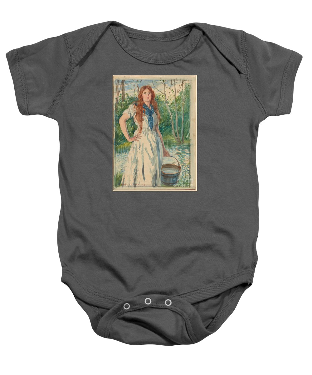 Edmund J. Sullivan 1869-1933 Isopel Berners 1914 Baby Onesie featuring the painting Isopel Berners by Celestial Images