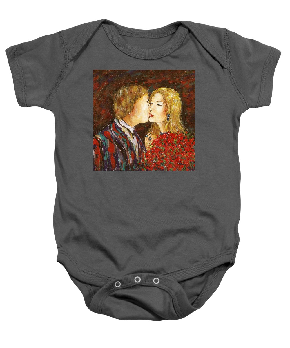Passion Baby Onesie featuring the painting Kiss by Natalie Holland