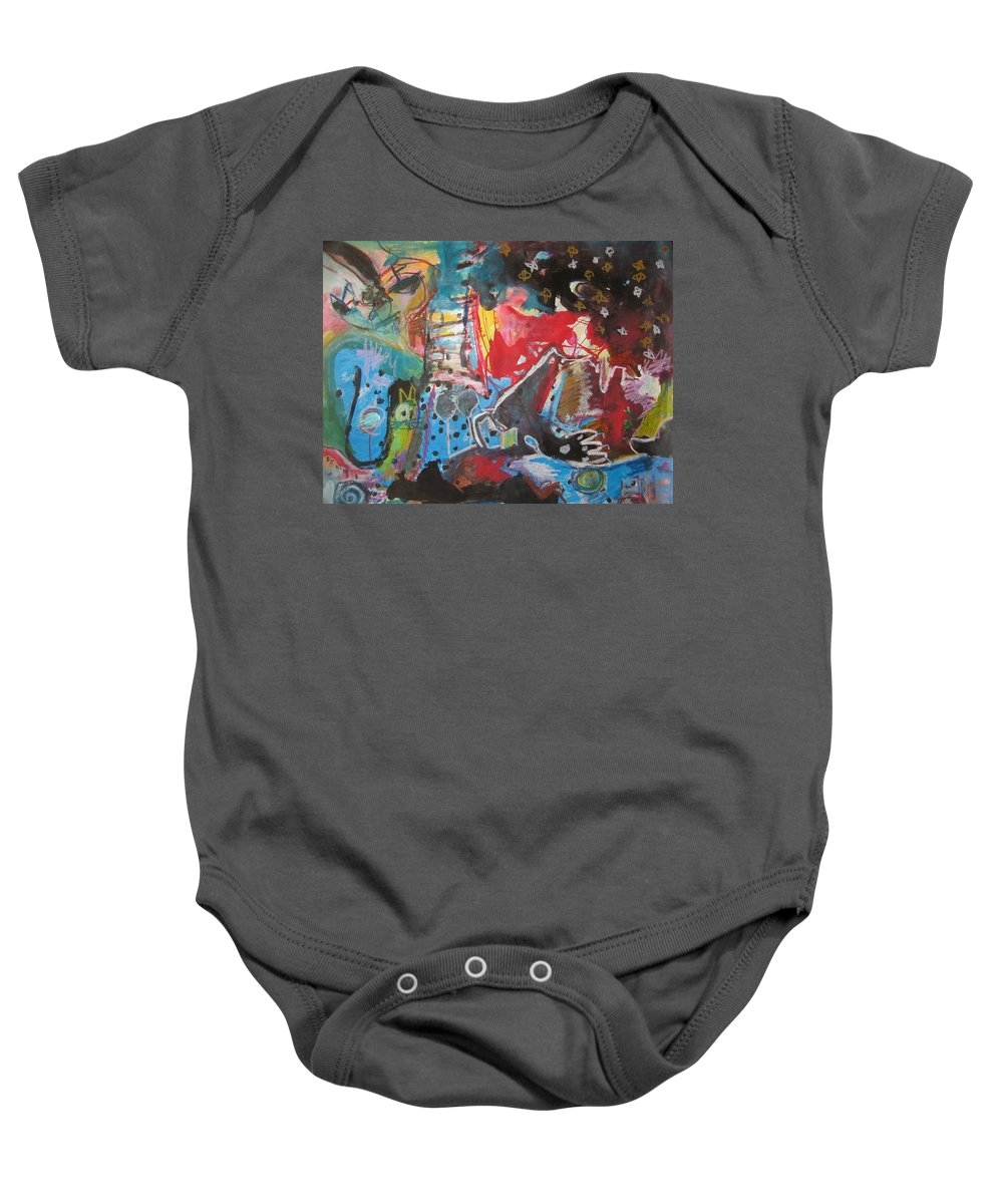 Original Baby Onesie featuring the painting Patty's Harbour Original Abstract Colorful Landscape Painting For Sale Blue Green Red by Seon-Jeong Kim