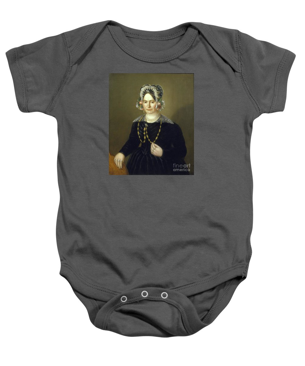 Unknown Artist Baby Onesie featuring the painting Portrait Of The Wife Of Israel by MotionAge Designs