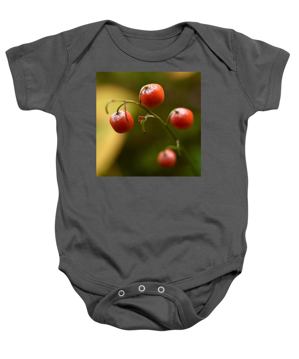 Lehtokukka Baby Onesie featuring the photograph The Berries Of The Lily Of The Valley by Jouko Lehto