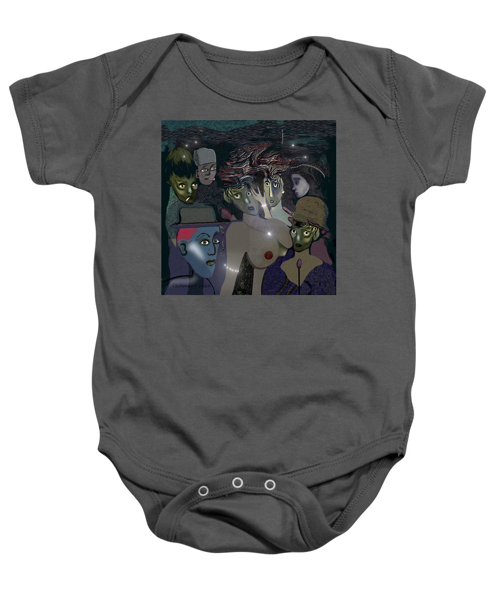015 Berlin The 1920s Baby Onesie featuring the painting 015 - Berlin The 1920s - The Shining by Irmgard Schoendorf Welch