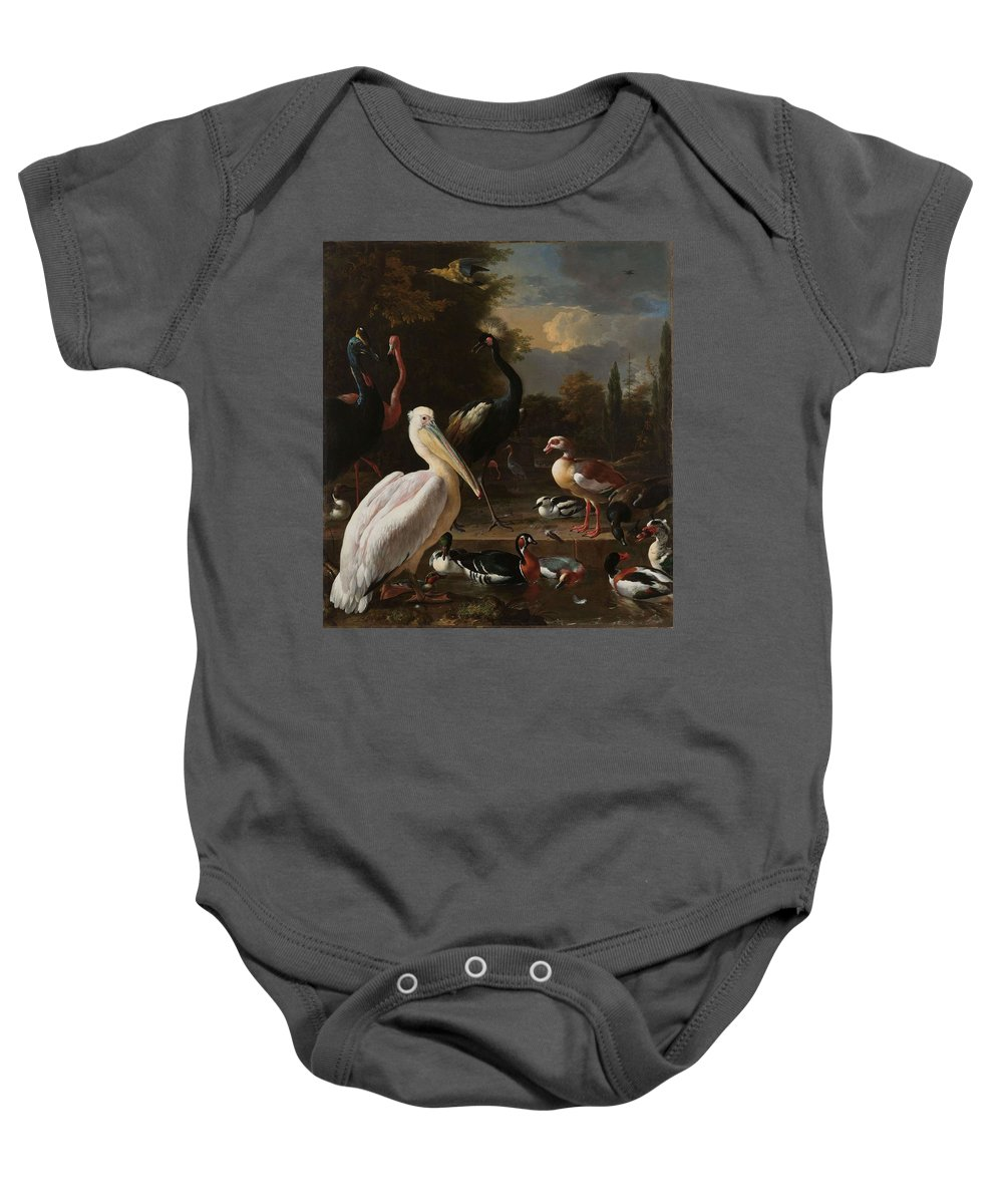 Nature Baby Onesie featuring the painting A Pelican And Other Birds Near A Pool, Known As The Floating Feather, Melchior D Hondecoeter, by Melchior d Hondecoeter