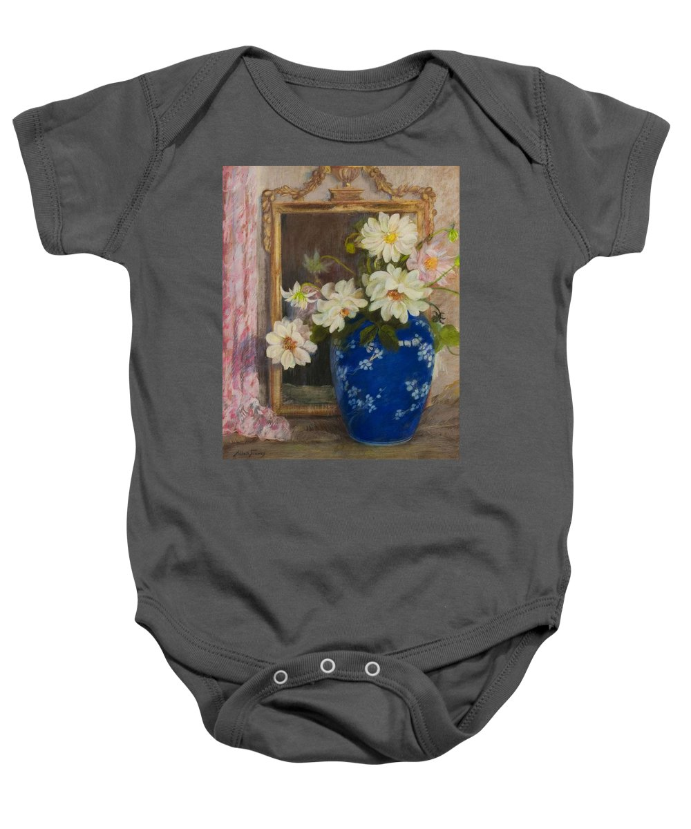 Flower Baby Onesie featuring the painting Abbott Graves 1859-1936 Flowers In A Blue Vase by Abbott Graves