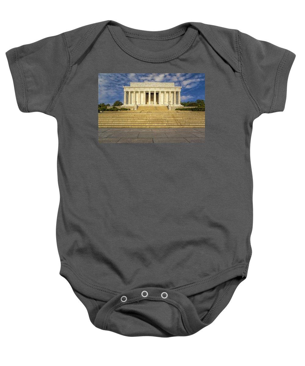 Abraham Lincoln Memorial Baby Onesie featuring the photograph Abraham Lincoln Memorial by Susan Candelario