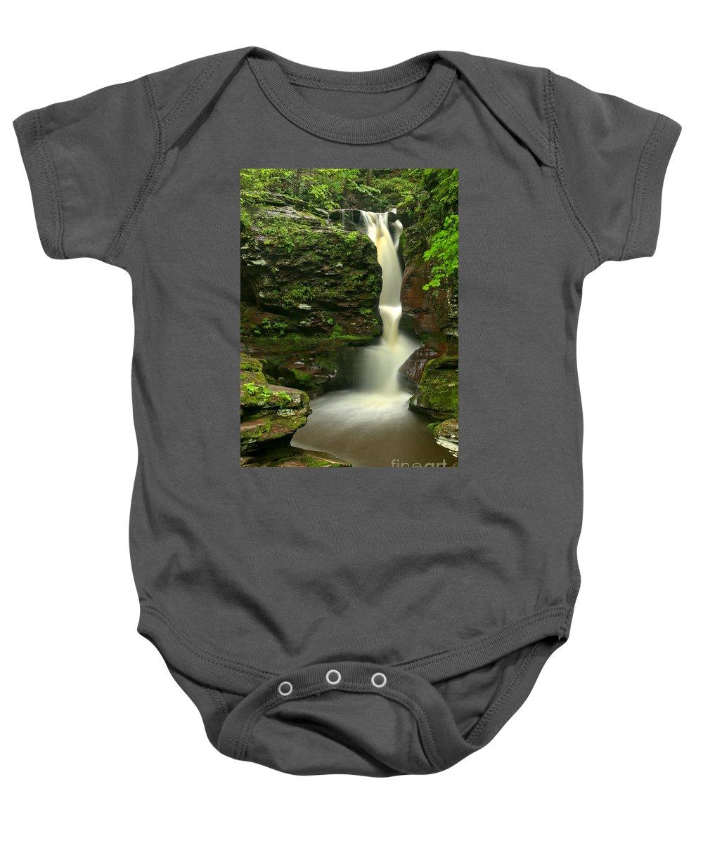 Adams Falls Baby Onesie featuring the photograph Pennsylvania Adams Falls by Adam Jewell