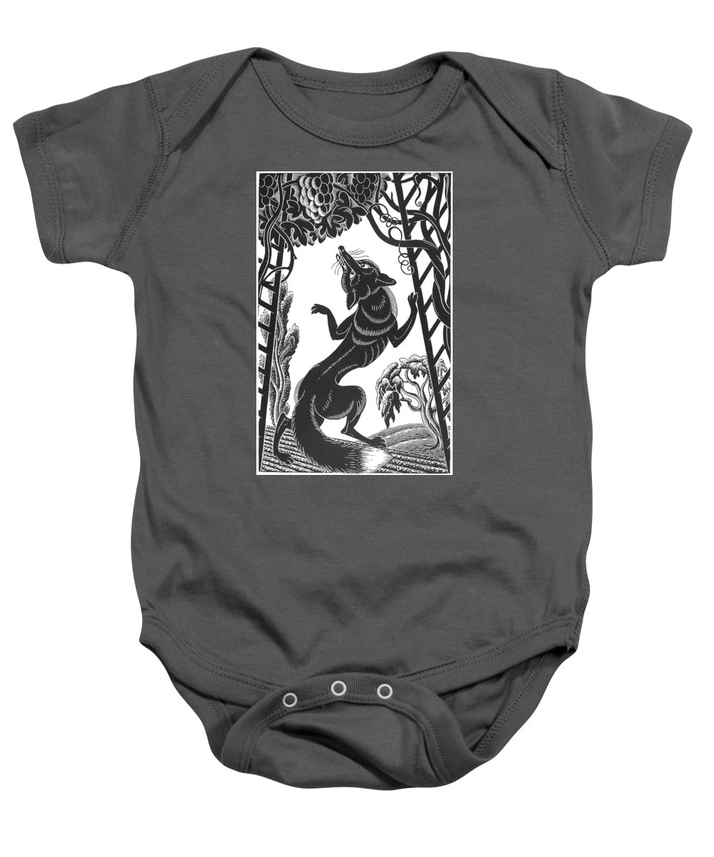 20th Century Baby Onesie featuring the photograph Aesop: Fox & Grapes by Granger