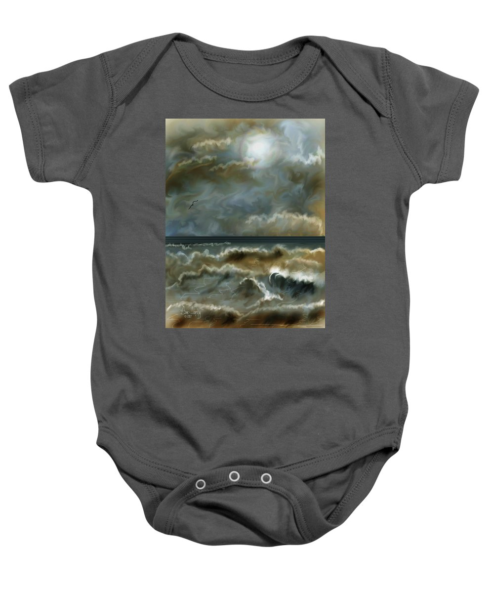 Seascape Baby Onesie featuring the painting After The Squall by Anne Norskog