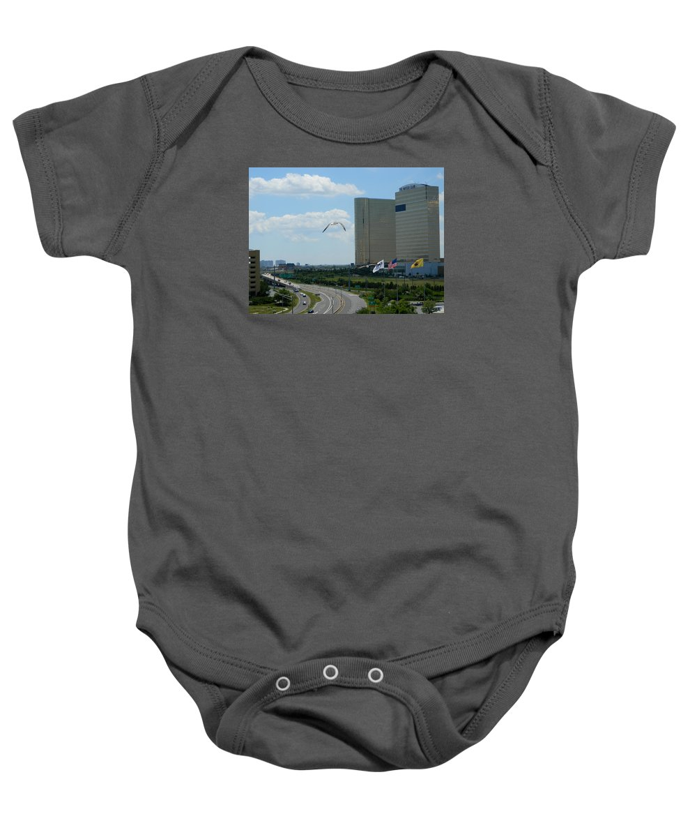 City Baby Onesie featuring the photograph Atlantic City Skyline by Arlane Crump
