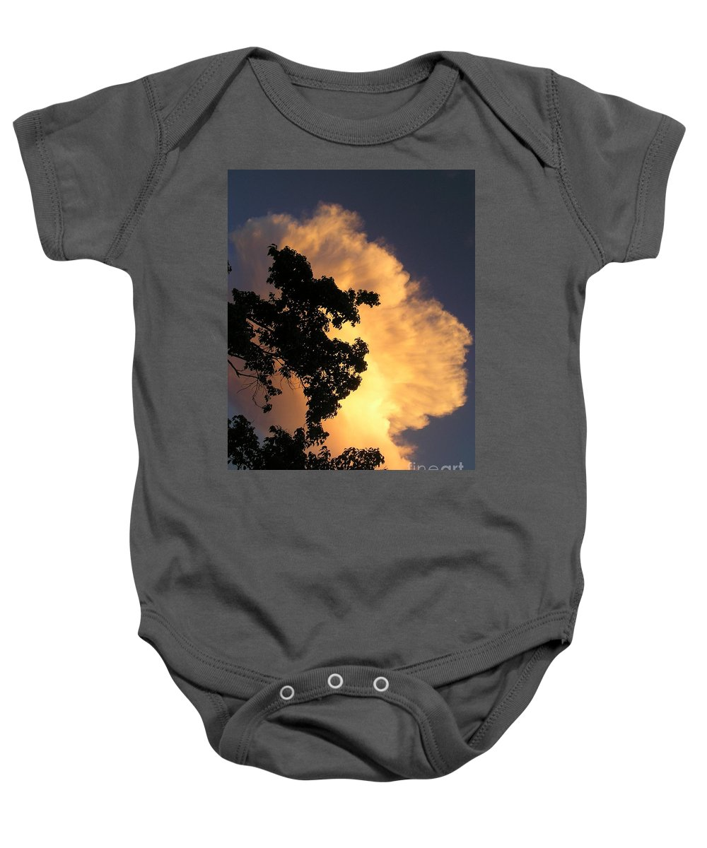 Clouds Baby Onesie featuring the photograph August Thunder by Maria Bonnier-Perez