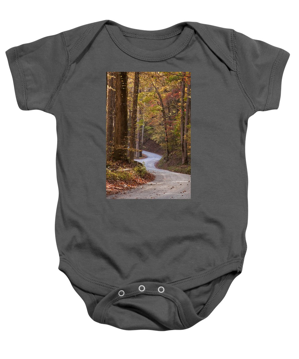 Autumn Baby Onesie featuring the photograph Autumn Drive by Andrew Soundarajan