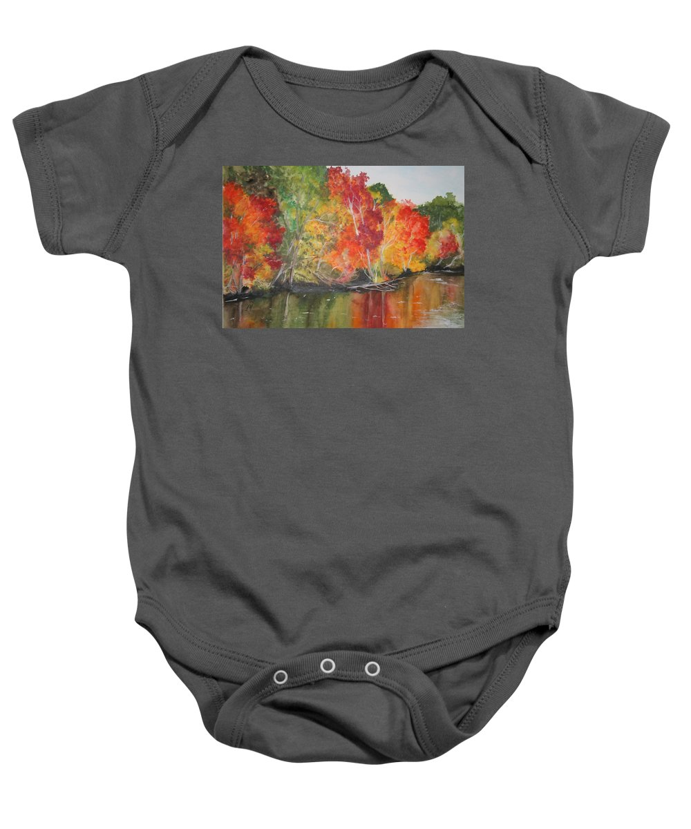Autumn Baby Onesie featuring the painting Autumn Splendor by Jean Blackmer