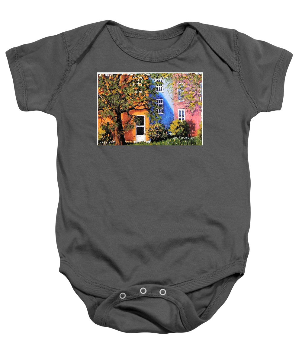 Scenic Baby Onesie featuring the painting Backyard by Jonathan Carter