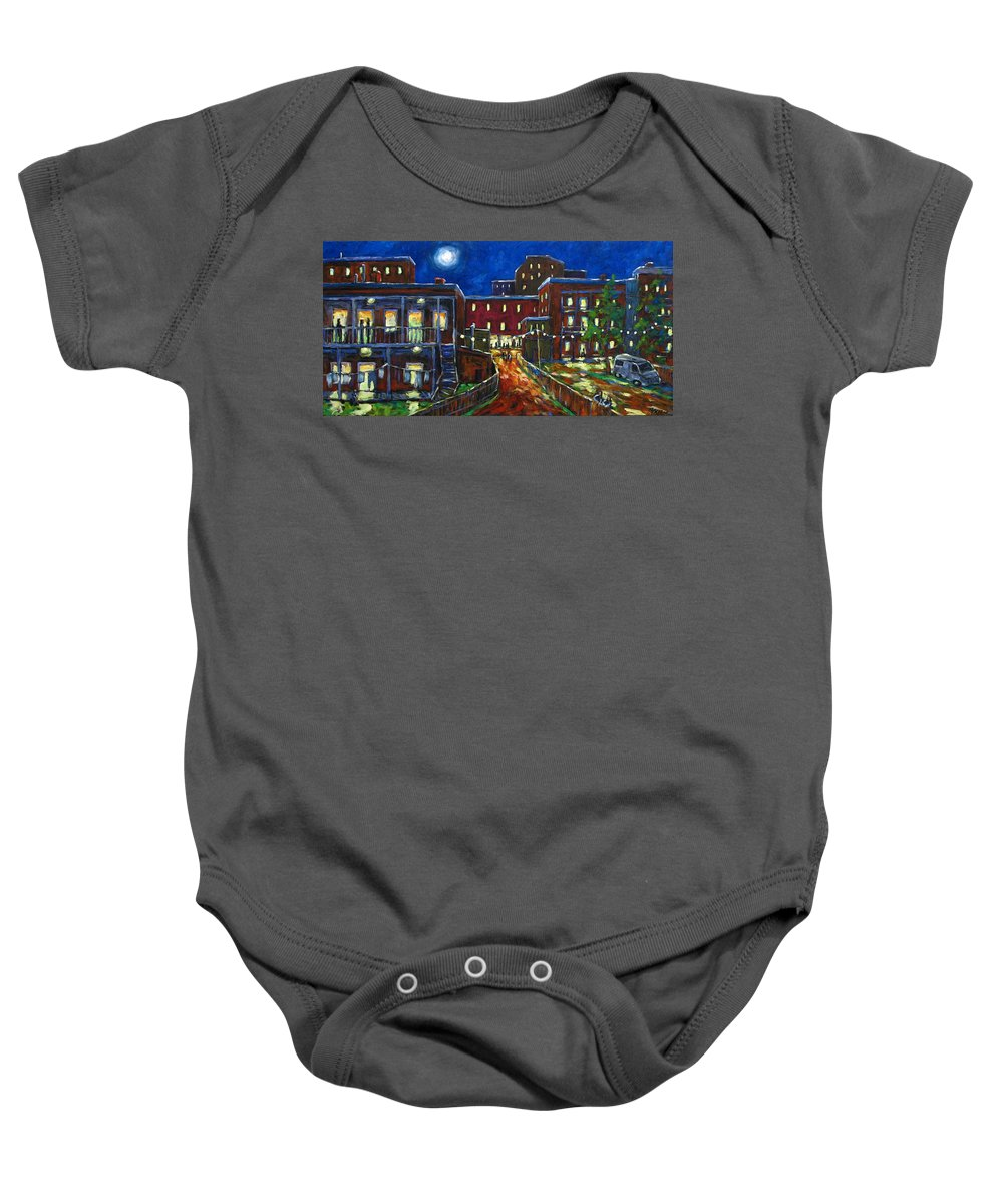 Town Baby Onesie featuring the painting Balconville by Richard T Pranke