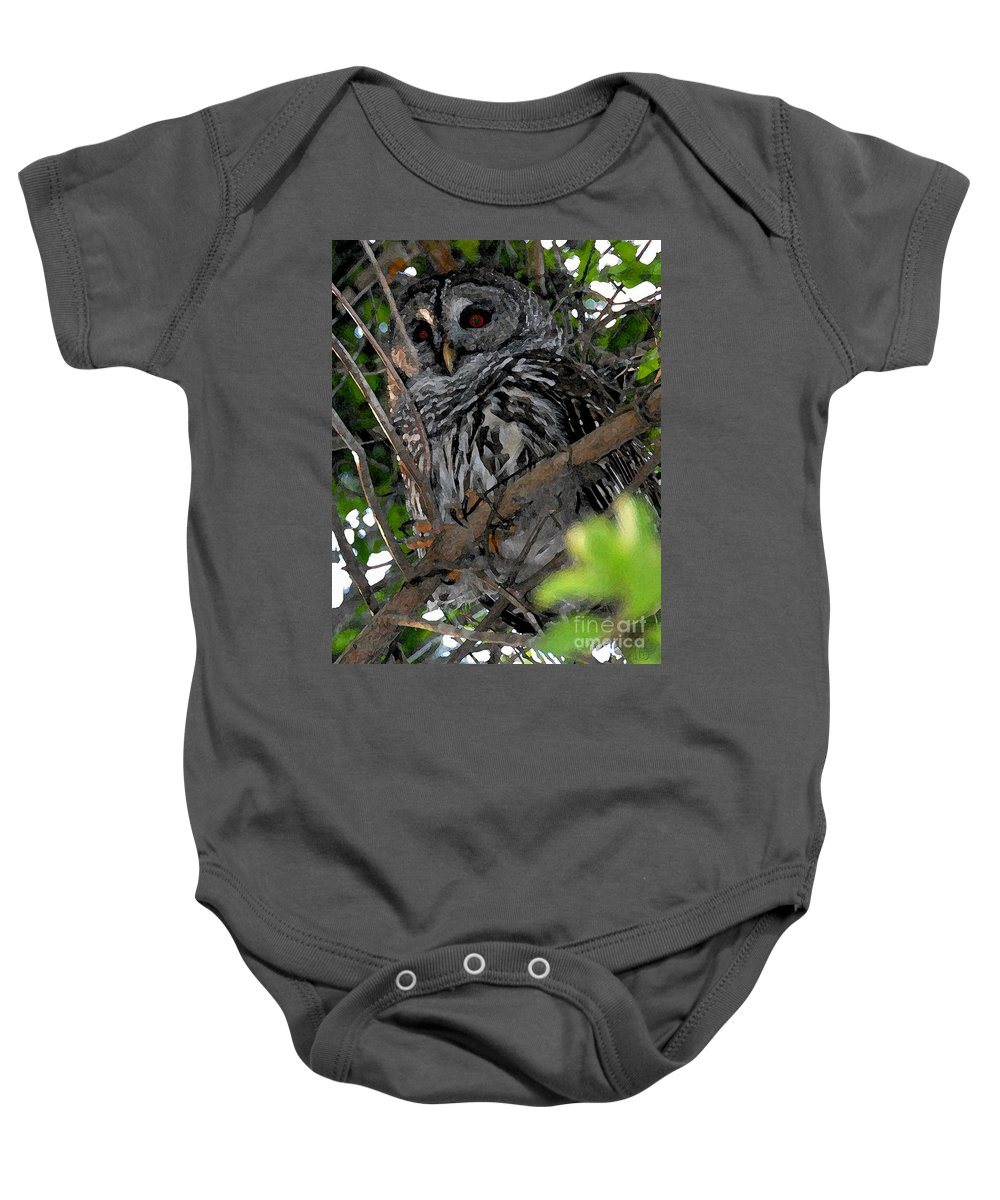 Barred Owl Baby Onesie featuring the painting Barred Owl by David Lee Thompson