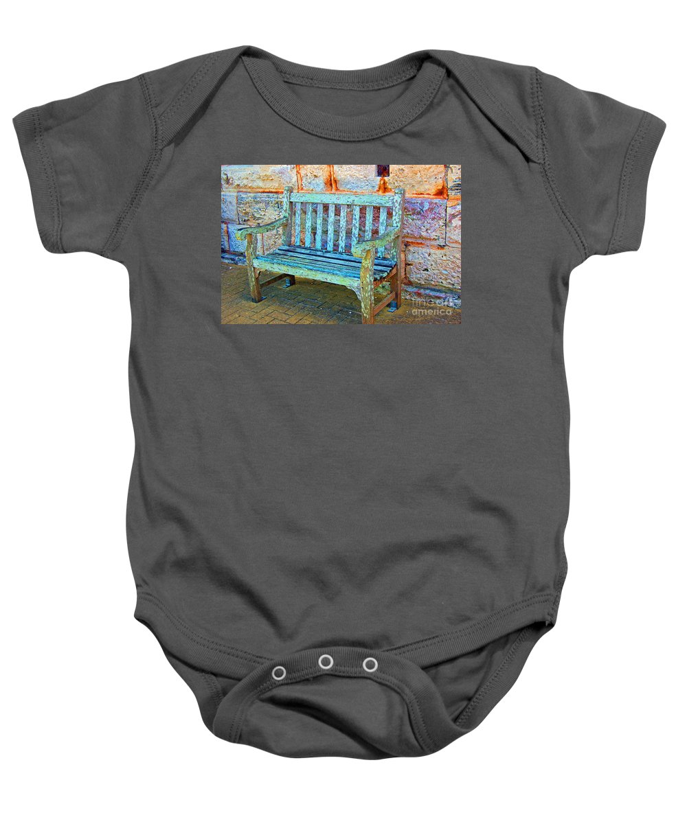 Bench Baby Onesie featuring the photograph Benched by Debbi Granruth