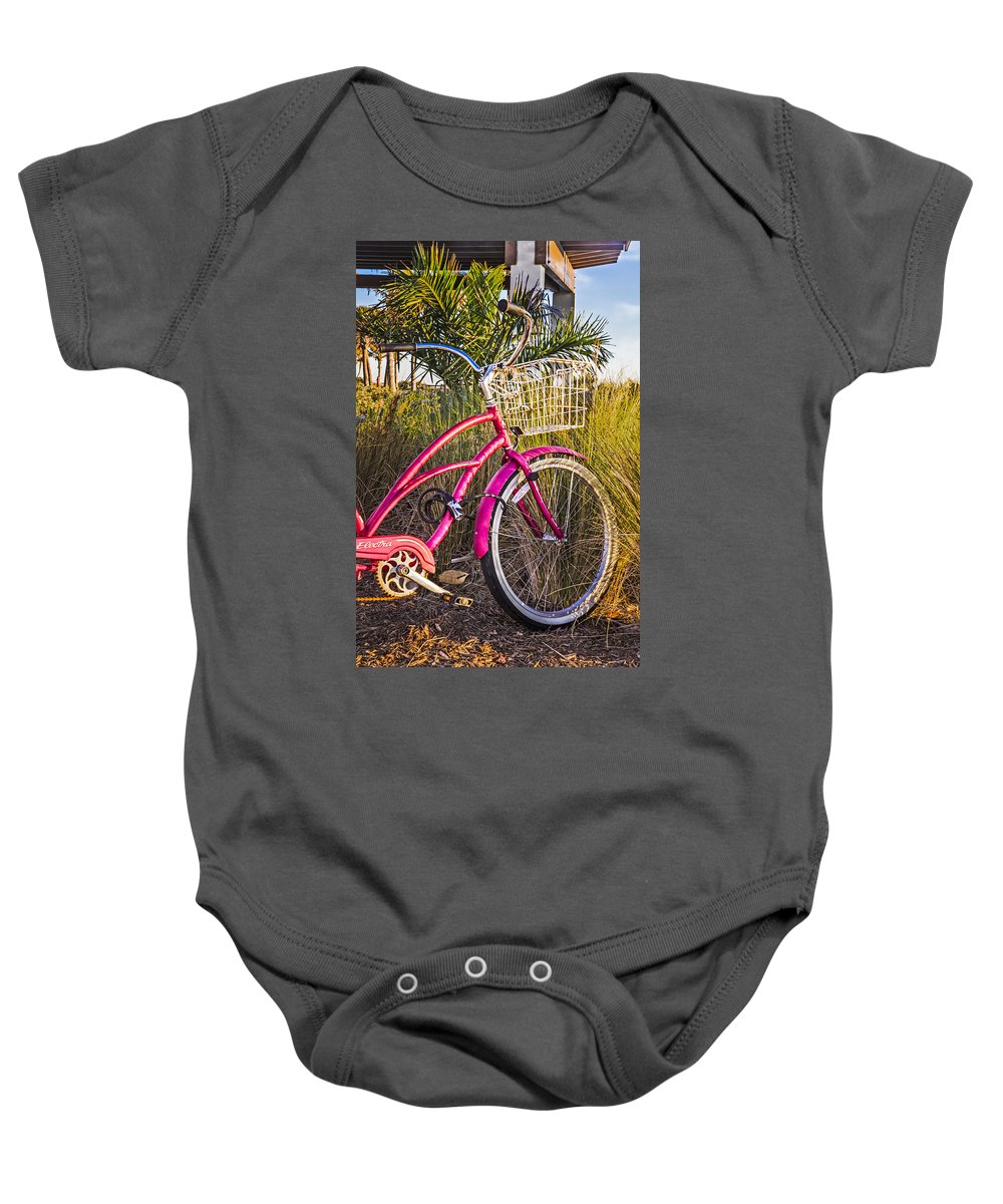 Clouds Baby Onesie featuring the photograph Bicycle At The Beach II by Debra and Dave Vanderlaan