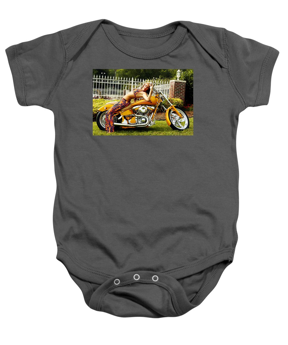 Clay Baby Onesie featuring the photograph Bikes And Babes by Clayton Bruster