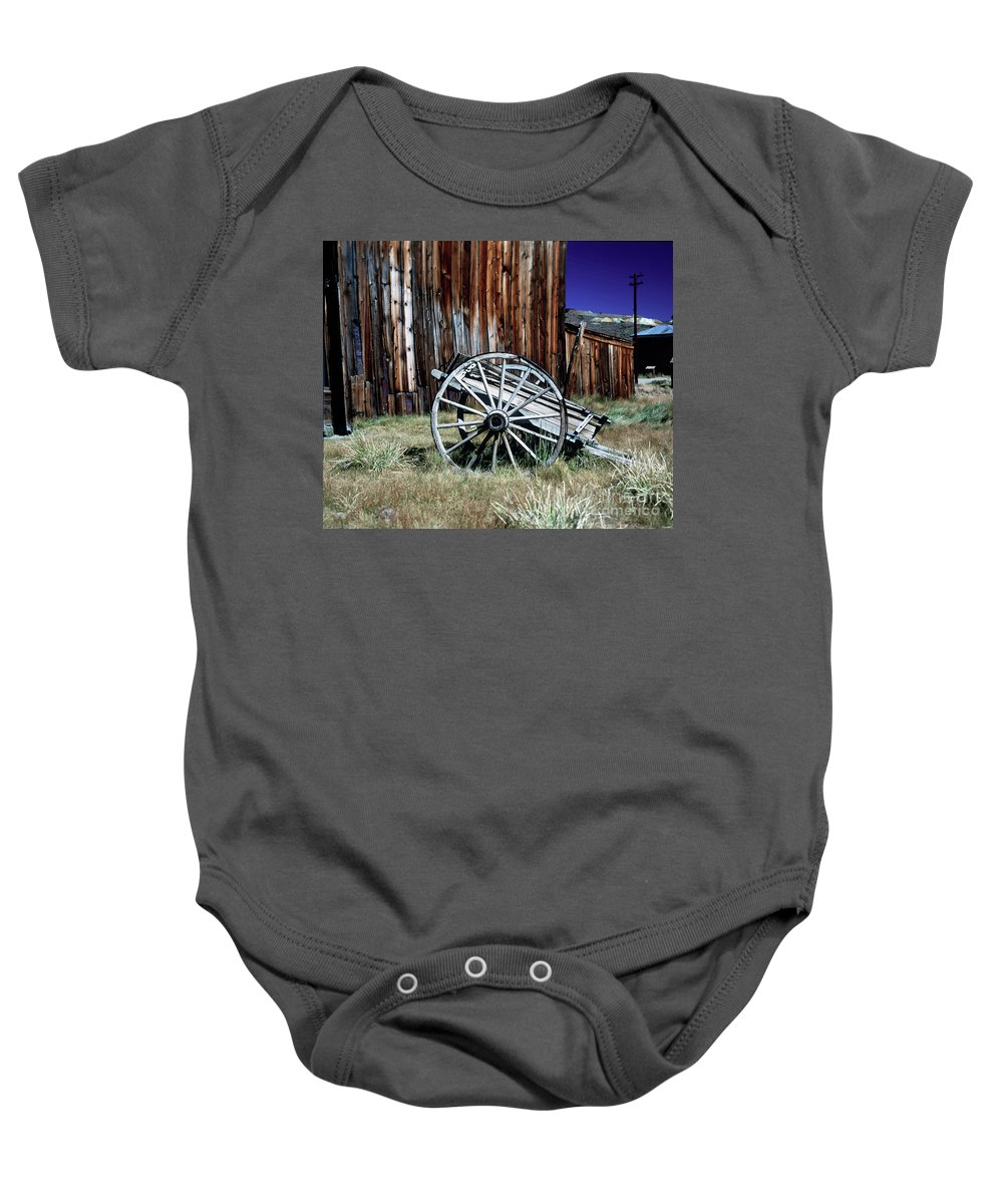 Bodie Baby Onesie featuring the photograph Bodie Wagon by Jim And Emily Bush