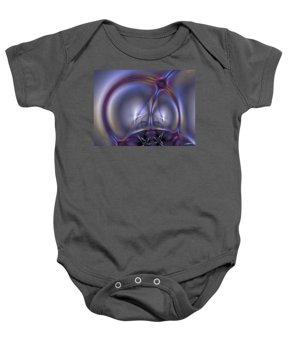Abstract Baby Onesie featuring the digital art Bound By Light by Casey Kotas