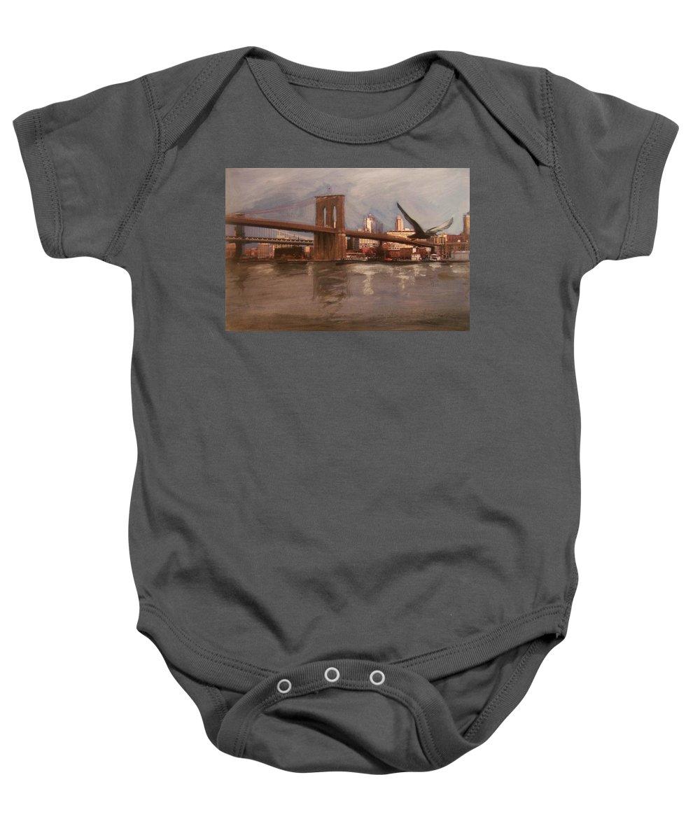 Brooklyn Bridge Baby Onesie featuring the painting Brooklyn Bridge by Anita Burgermeister