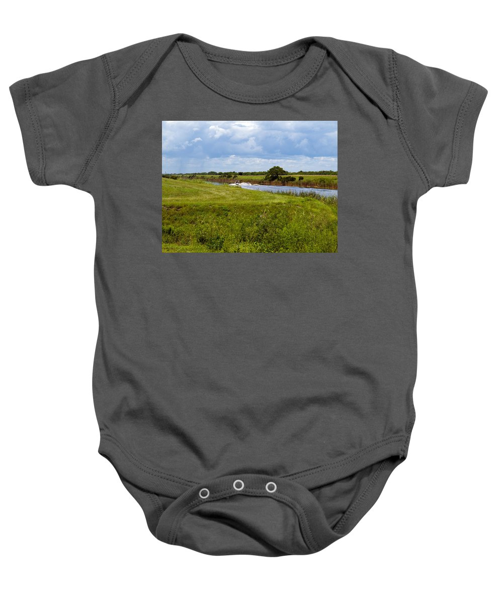 Florida; C54; Canal; Fellsmere; Sebastian; Grade; Drain; Draining; Water; Flow; Flowing; Indian; Riv Baby Onesie featuring the photograph C54 Canal In Florida by Allan Hughes
