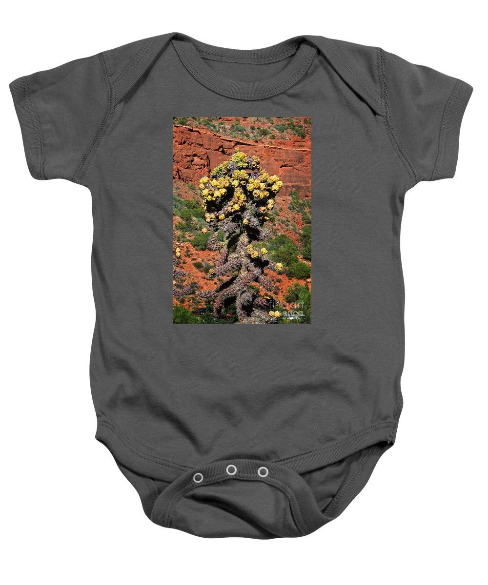 Cactus Outside The Chapel Of The Holy Cross Baby Onesie featuring the photograph Cactus Outside The Chapel Of The Holy Cross by Yefim Bam