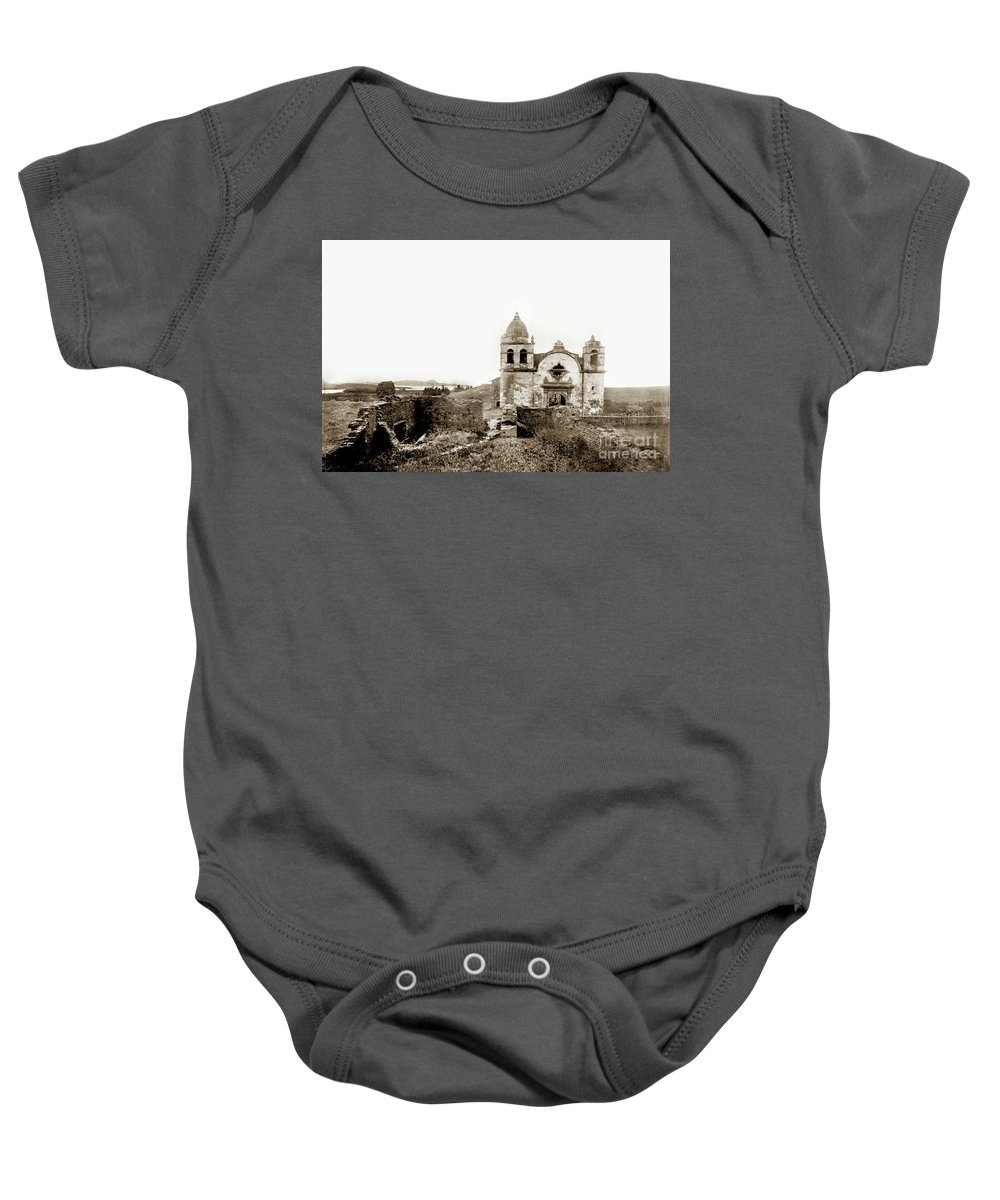 Carmel Mission Baby Onesie featuring the photograph Carmel Mission By A.j. Perkins 1880 by California Views Archives Mr Pat Hathaway Archives