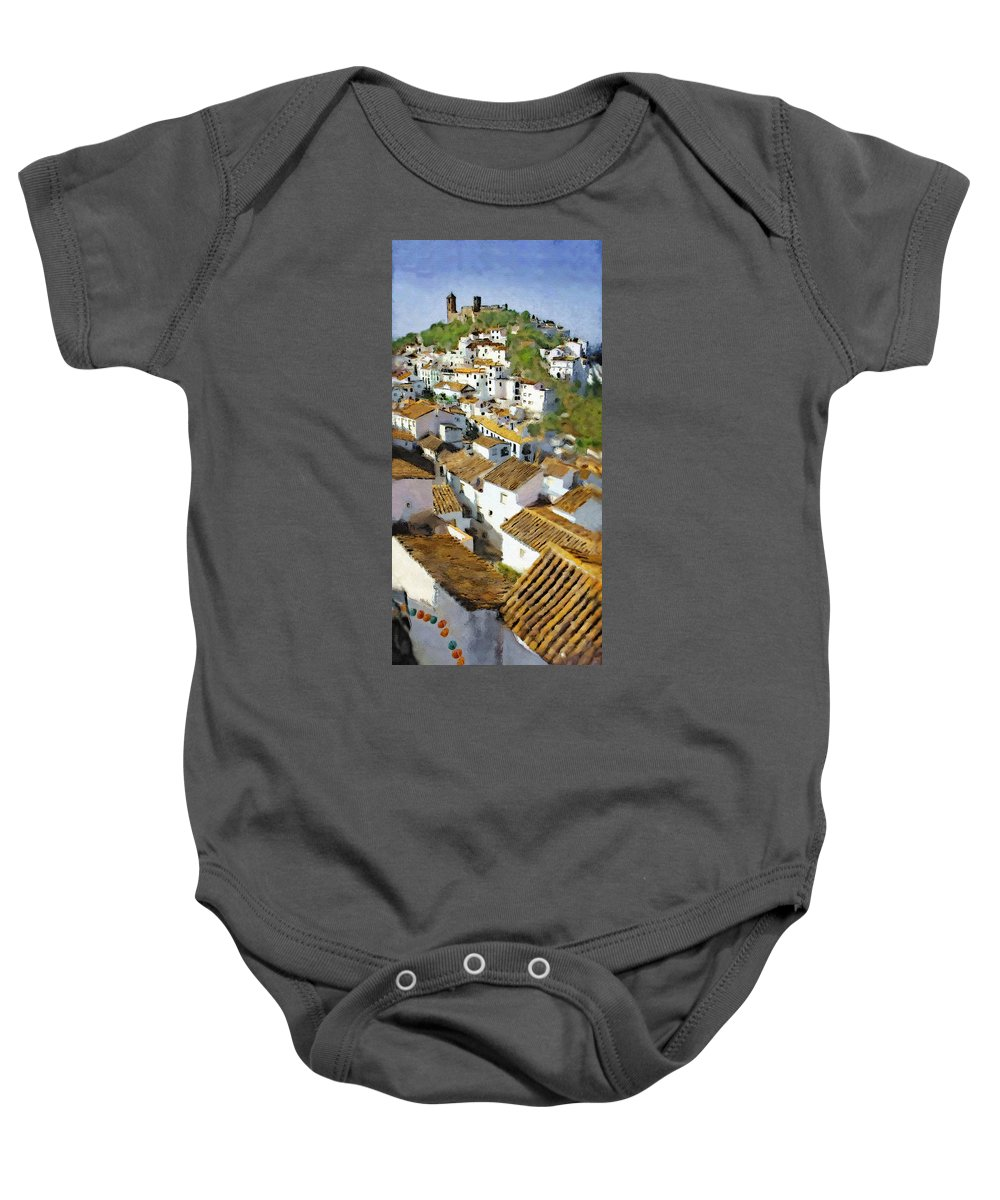 Casares Baby Onesie featuring the mixed media Casares Rooftops by Chris North