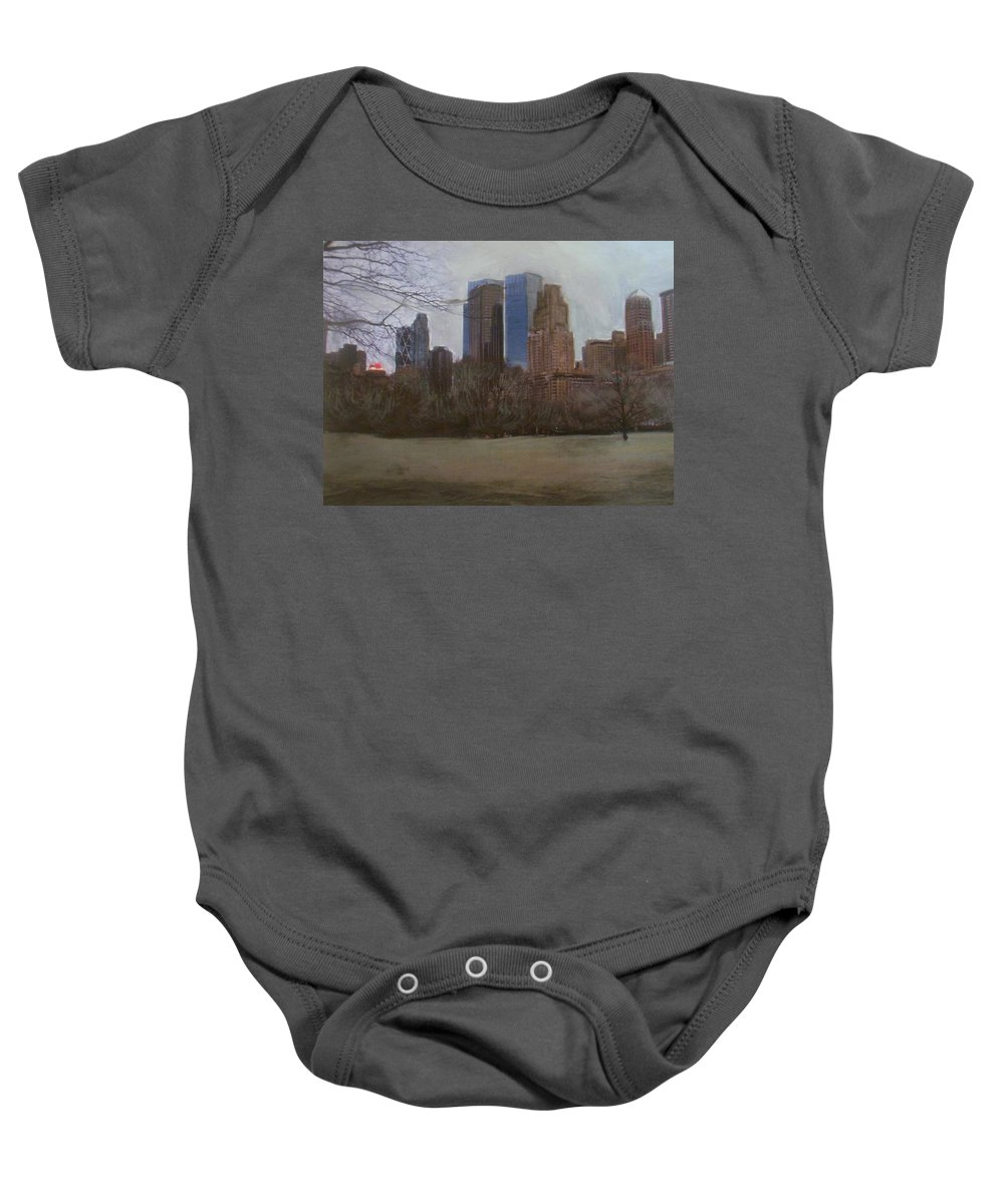 Central Park Baby Onesie featuring the painting Central Park by Anita Burgermeister