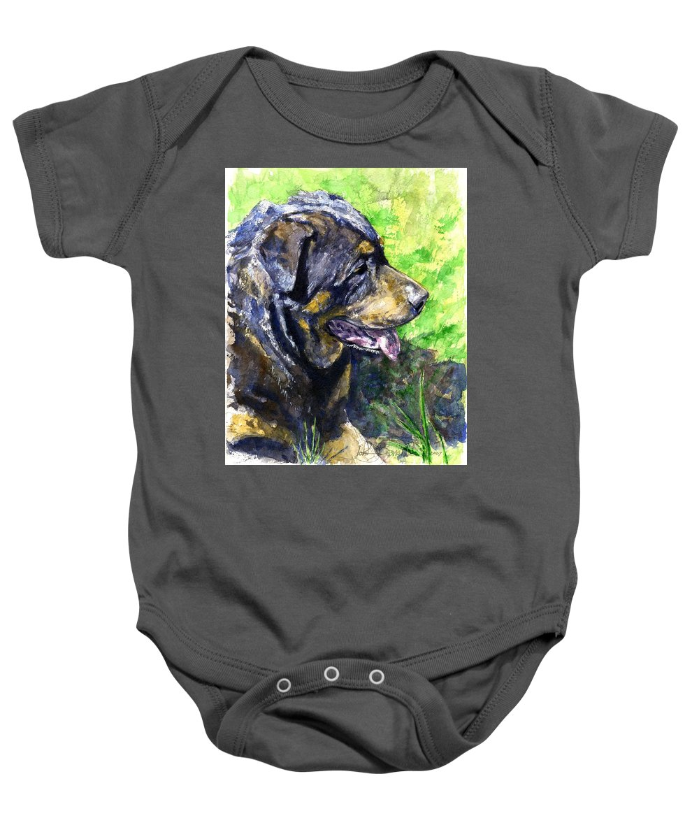 Rottweiler Baby Onesie featuring the painting Chaos by John D Benson