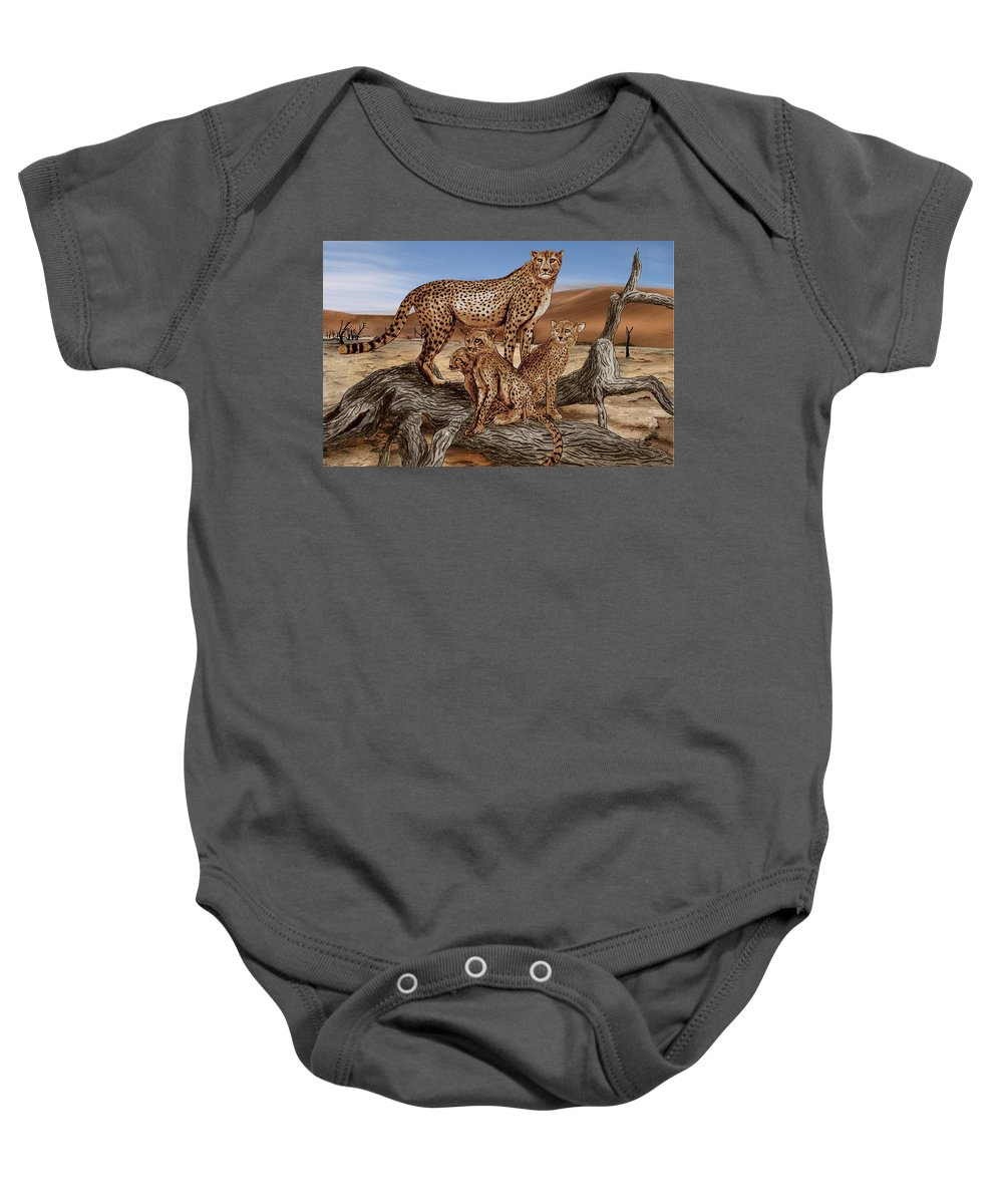 Cheetah Family Tree Baby Onesie featuring the drawing Cheetah Family Tree by Peter Piatt