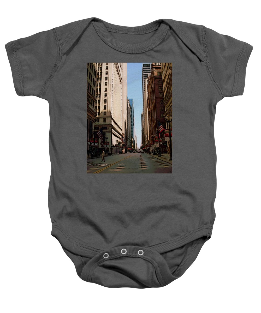 Chicago Baby Onesie featuring the digital art Chicago Street With Flags by Anita Burgermeister