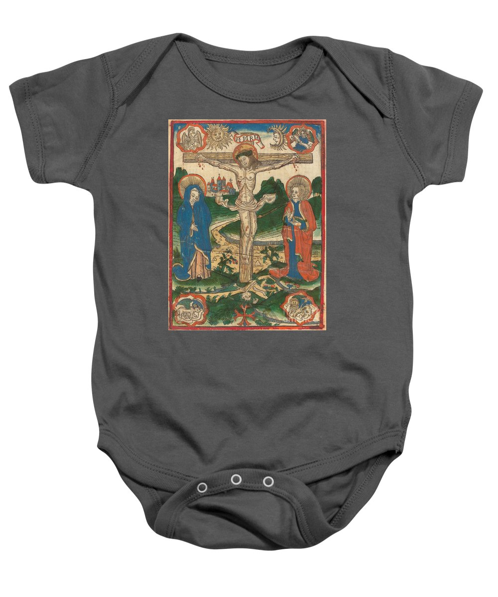 Baby Onesie featuring the drawing Christ On The Cross by German 15th Century