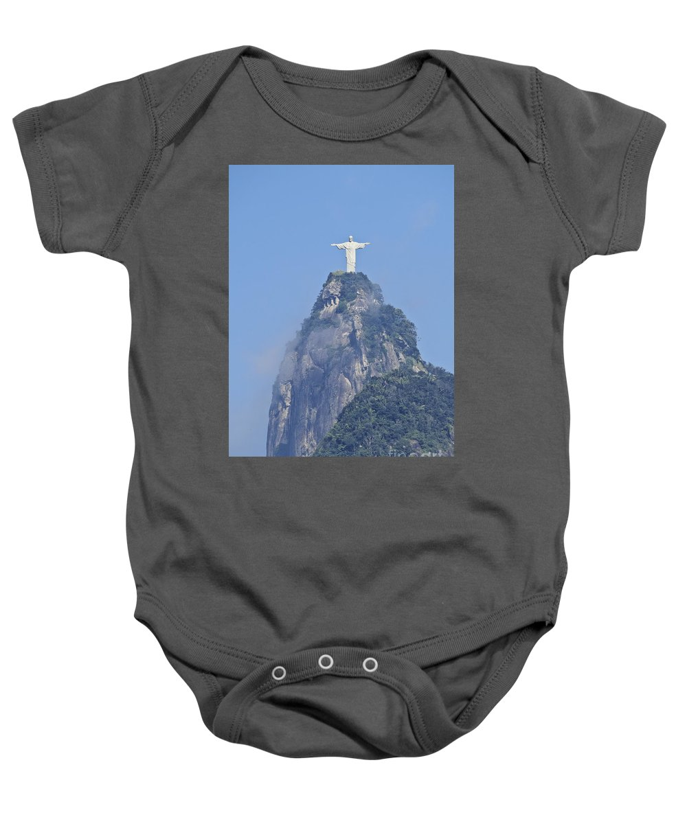 South America Baby Onesie featuring the photograph Christ The Redeemer, Rio De Janeiro by Karol Kozlowski