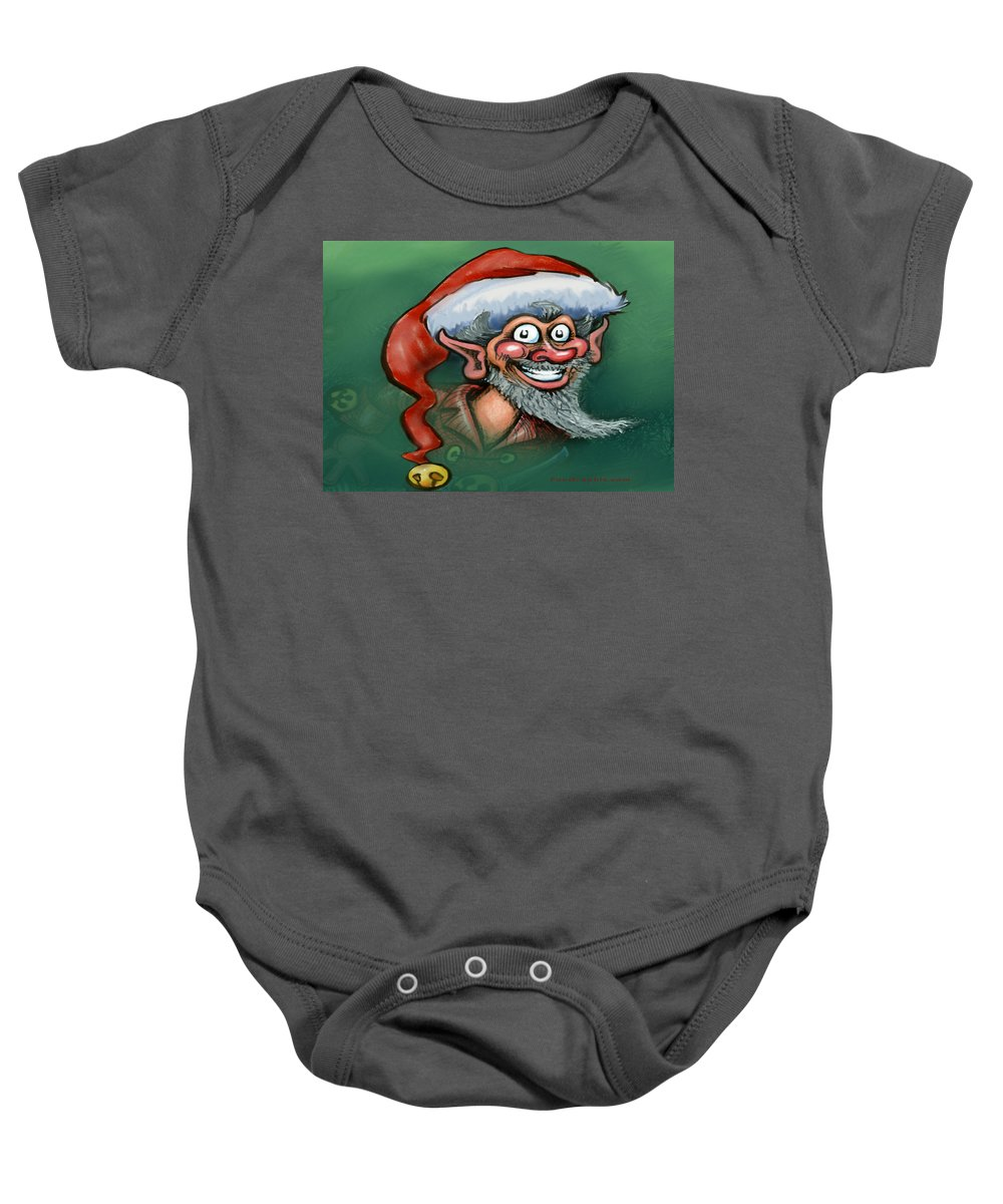 Elf Baby Onesie featuring the digital art Christmas Elf by Kevin Middleton