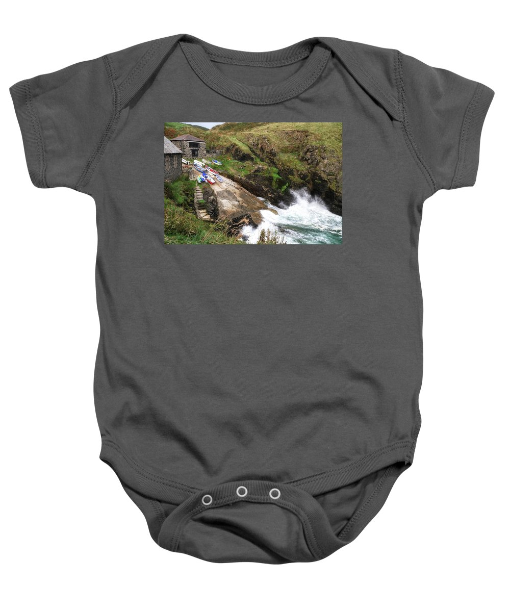 Cliff Baby Onesie featuring the photograph Church Cove Cornwall by Shirley Mitchell
